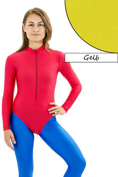 Damen Body lange Ärmel Front-RV gelb