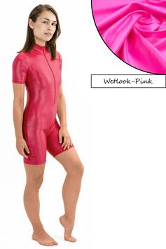 Damen Wetlook Ganzanzug kurze Ärmel und Beine FRV pink