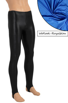 Herren Wetlook Leggings mit Steg royalblau