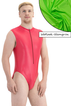 Herren Wetlook Body ohne Ärmel Front-RV neongrün
