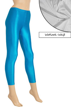 Damen Wetlook Leggings weiß