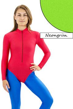 Damen Body lange Ärmel Front-RV neongrün