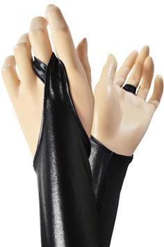 Wetlook Armstulpen mit Schlaufe schwarz
