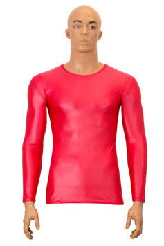 Herren Wetlook T-Shirt lange Ärmel rot