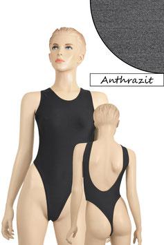Damen Stringbody tiefer Rückenausschnitt Anthrazit