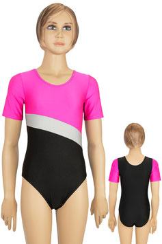 "Kinder Gymnastikanzug Kurzarm ""Bertha"" pink-silber-schwarz"