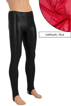 Herren Wetlook Leggings mit Steg rot