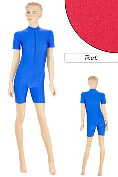 Damen Fitnessanzug Front-RV kurze Ärmel Radlerbeine Rot