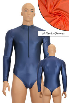 Herren Wetlook Stringbody lange Ärmel FRV orange