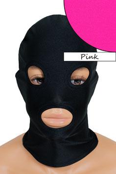 Kopfhaube (Maske) pink, mit Löchern für Mund und Augen