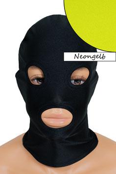 Kopfhaube (Maske) neongelb, mit Löchern für Mund und Augen