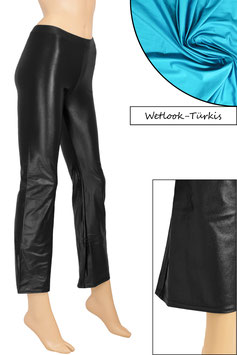 Damen Wetlook Jazzpant türkis