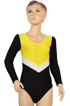 """Kinder Gymnastikanzug """"Annabell"""" gelb-weiß-schwarz Ärmel schwarz"""