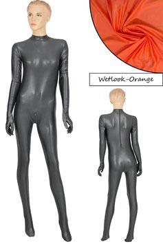Damen Wetlook Ganzanzug RRV+Hand+Fuß orange