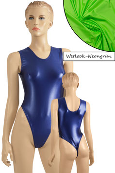 Damen Wetlook Stringbody ohne Ärmel neongrün