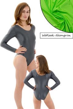 Damen Wetlook Body lange Ärmel Neongrün