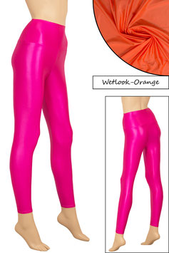 Damen Wetlook High-Waist Leggings orange