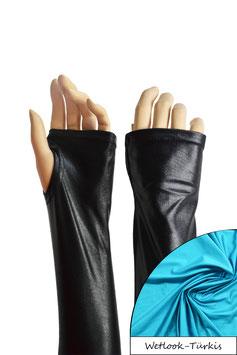 Wetlook fingerlose Handschuhe mit Daumenloch türkis