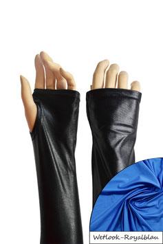 Wetlook fingerlose Handschuhe mit Daumenloch royalblau