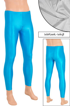Herren Wetlook Leggings mit Schritt-RV weiß