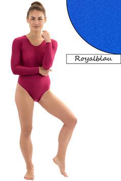 Damen Body Druckverschluss lange Ärmel Rundhals royalblau