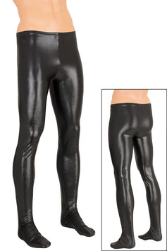 Herren Wetlook Leggings mit Fuss schwarz
