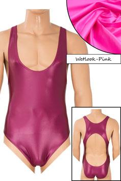 Herren Wetlook Body Boxerschnitt und freier Rücken pink