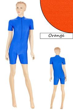Damen Fitnessanzug Front-RV kurze Ärmel Radlerbeine orange