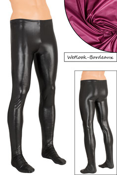 Herren Wetlook Leggings mit Fuss bordeaux