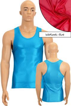 Herren Wetlook Boxerhemd Slim Fit rot
