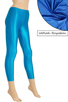 Damen Wetlook Leggings royalblau