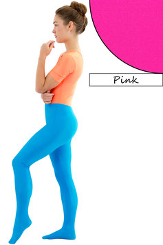 Damen Leggings mit Fuß pink
