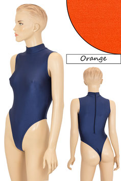 Damen Stringbody RRV+Kragen ohne Ärmel orange