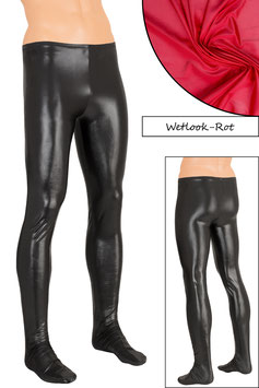 Herren Wetlook Leggings mit Fuss rot