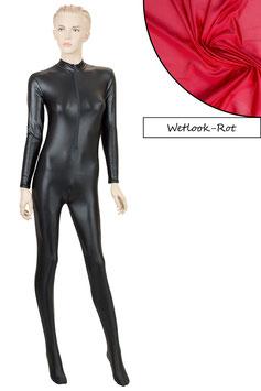 Damen Wetlook Ganzanzug FRV+SRV+Fuß rot