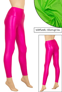 Damen Wetlook High-Waist Leggings neongrün