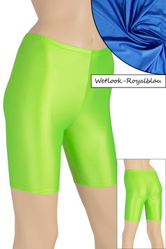 Damen Wetlook Radlerhose royalblau