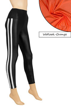 Damen Wetlook High-Waist Leggings orange mit weißen Streifen