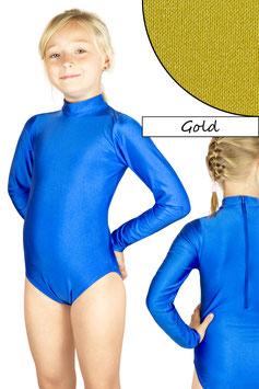 Kinder Gymnastikanzug lange Ärmel Kragen Rücken-RV gold