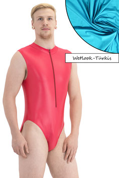 Herren Wetlook Body ohne Ärmel Front-RV türkis