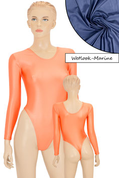 Damen Wetlook Stringbody lange Ärmel marine