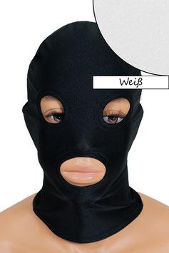 Kopfhaube (Maske) weiß, mit Löchern für Mund und Augen