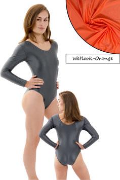 Damen Wetlook Body lange Ärmel Orange