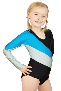 "Kinder Gymnastikanzug ""Paula"" schwarz-türkis-silber"