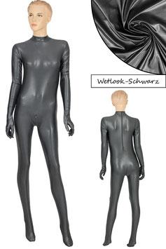 Damen Wetlook Ganzanzug RRV+Hand+Fuß schwarz