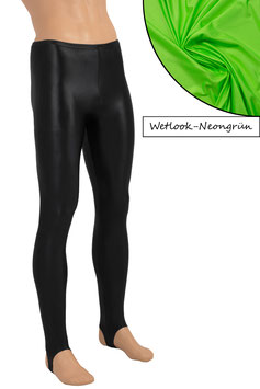 Herren Wetlook Leggings mit Steg neongrün