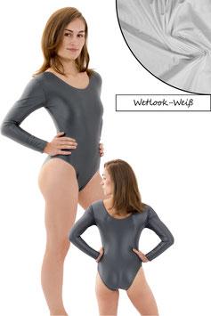 Damen Wetlook Body lange Ärmel Weiß