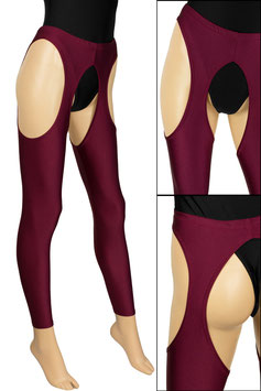 Damen Straps-Leggings bordeaux
