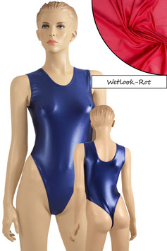 Damen Wetlook Stringbody ohne Ärmel rot