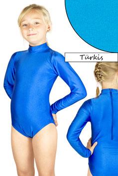 Kinder Gymnastikanzug lange Ärmel Kragen Rücken-RV türkis